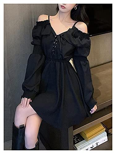 Vestidos de Mujer Vestido Negro Gótico Mujer Bolso Casual Encaje Fiesta Noche...