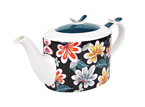 MamboCat Jameson & Tailor Teekanne 1,4 L Diamantporzellan Blumen-Dekor Kanne incl. Teeprobe