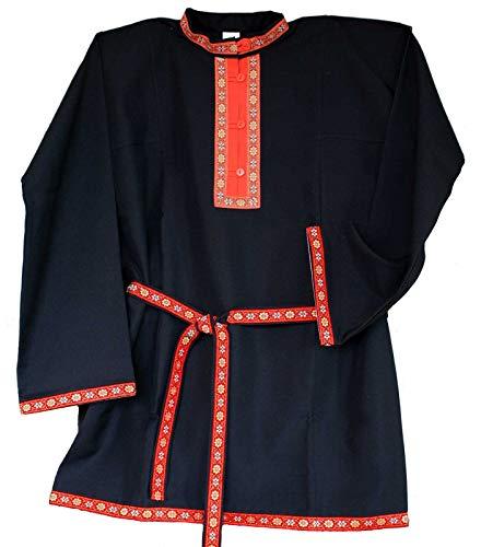 Russisches Hemd Kosakenhemd Gabardine schwarz Größe XXL