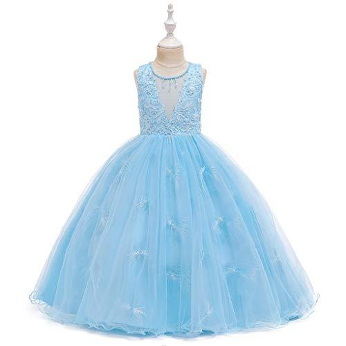 Janly Liquidación Venta Vestido de Niñas para 0-10 Años, Niño Niña Sin Mangas Vestido de Princesa de Encaje Vestido de Fiesta Cosplay Ropa, azul, 5-6 Años Old