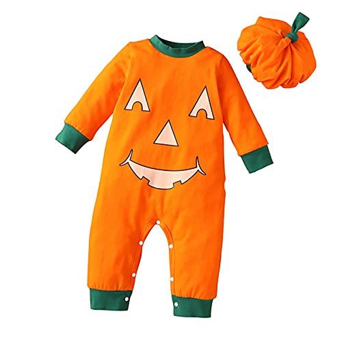 Traje de Halloween de Calabaza Beb Nio Nia Mono de Halloween Monos de Sombrero Ropa Conjuntos, naranja, 18 meses