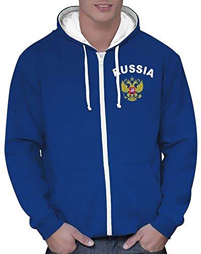 Coole-Fun-T-Shirts Russland Russia Sweatshirtjacke Varsity Jacke Blau, Gr.M