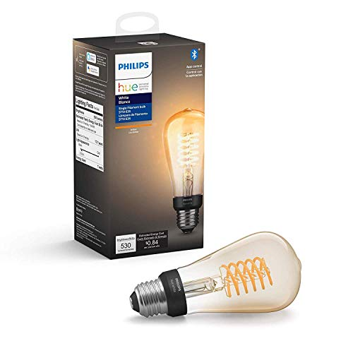 Philips Hue White Filament ST19 Smart Vintage LED bulb, Bluetooth & Hub compatible (Hue Hub Optional), Edison bulb, voice activated with Alexa