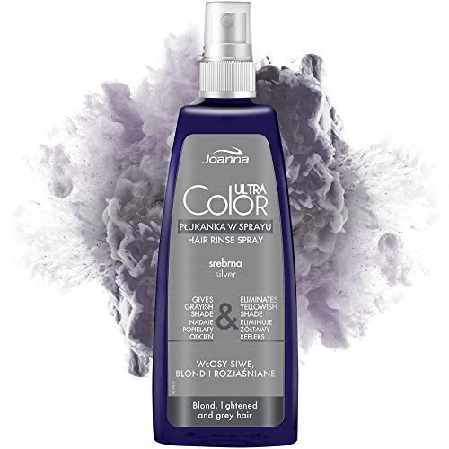 Joanna Ultra Color - Silver Hair Rinse In Spray For Blond And Light Hair - Ashen Grey Shade - Natural Shine - Eliminates Yellowish Hue Of Grey Blonde Bleached Hair - Brightens and Revitalises - 150 ml