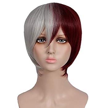 Jegawan Anime Character Kaede Akamatsu Wig Cosplay Halloween Hajime Hinata Wig Womens Red Plus Silver White Straight Short Hair Party Costume Match Carnival 12 Inch