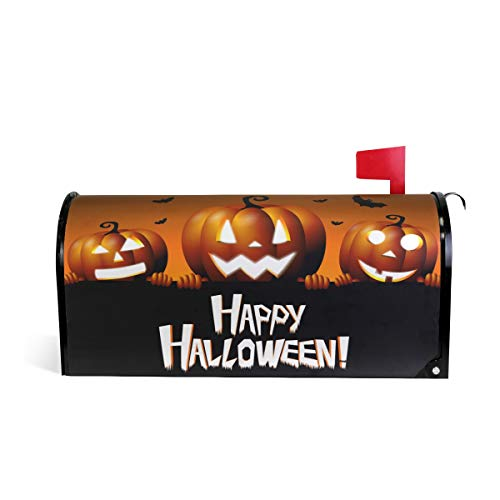 ZZKKO Happy Halloween Pumpkin Bat Magnetic Mailbox Cover Wrap Post Letter Box Cover for Outside Garden Home Decor Large Size 25.5 x 20.8 Inch