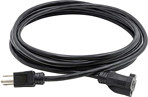 Clear Power 8 ft Indoor/Outdoor Extension Cord 16/3 SJTW, Black, Water & Weather Resistant, Flame Retardant, 3 Prong Grounded Plug, DCOC-0122-DC