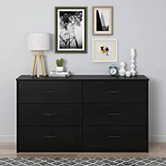 Give your bedroom or guest room additional storage with the Mainstays 6 Drawer Dresser Made from laminated particleboard, the black oak woodgrain finish gives the Dresser a classic look that fits with your existing décor Keep your folded t-shirts, pa...