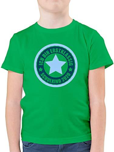 Einschulung und Schulanfang - Ich Bin erstklassig - Schulkind 2020 in blau - 128 (7/8 Jahre) - Grün - Schulkind Tshirt - F130K - Kinder Tshirts und T-Shirt für Jungen