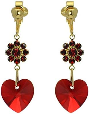 HEARTS & FLOWERS Gold Plated Siam Crystal Clip On Earrings