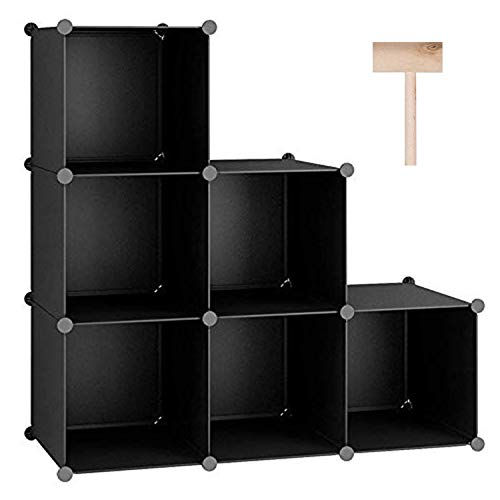 C&AHOME Cube Storage Organizer, 6-Cube Shelves Units, Closet Cabinet, DIY Plastic Modular Book Shelf, Ideal for Bedroom, Living Room, Office, 36.6' L x 12.4' W x 36.6' H Black