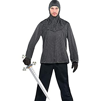 Chainmail Tunic and Cowl   Adult Size   Silver   1 Pc