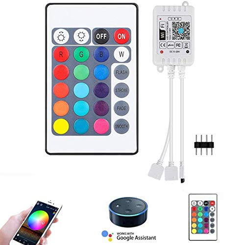 SUPERNIGHT DUAL Port Smart WiFi Remote Controller Support Alexa, Google Assistant, IFTTT for RGB LED Strip Lights, 1-to-2 Dimmer Control 2 Rolls of 5050 2835 RGB Color Changing Rope Lights (2 Ports)
