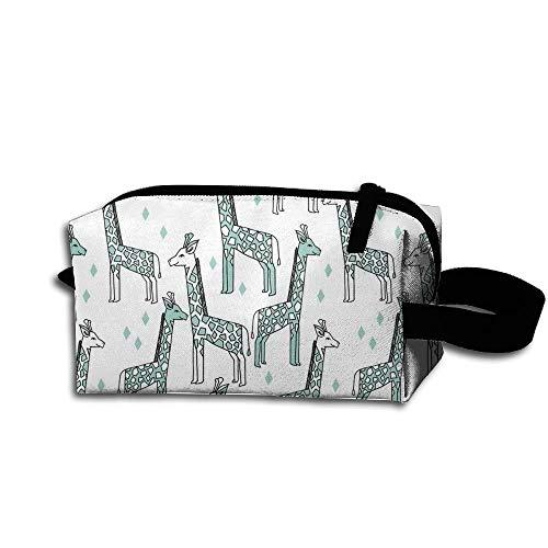 Travel Makeup Giraffe Pale Turquoise Beautiful Waterproof Cosmetic Bag Quick Makeup Bag Pencil Case