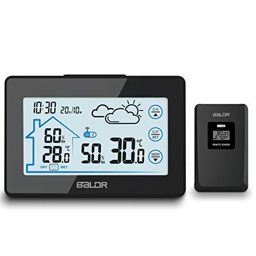MCvilla Wetterstation mit Funk Außensensor Digitale Thermometer-Hygrometer für innen/außen, Wetterstation Farbdisplay mit Touchscreen, Hintergrundbeleuchtung, Wettervorhersage, Uhrzeitanzeige