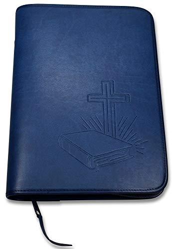 Uljö Hochwertige Bibelhüllen mit Motiv-Prägung Bibel/Kreuz (groß, Blau)