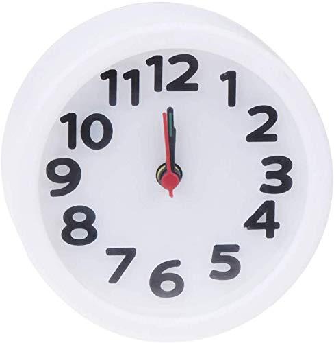 BANNAB Reloj Despertador de plástico Redondo Simple Reloj de Escritorio pequeño Hora Luminosa y manecillas de Minutos Reloj Despertador de Pared para niños sin batería (Blanco) Reloj de Pared