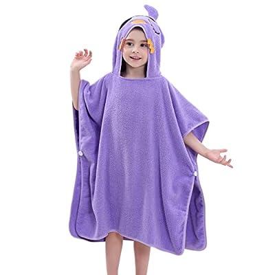 """MICHLEY Cotton Hooded Beach Bath Pool Poncho Towel 27.5""""X 27.5"""", Baby Girls Boys Cartoon Soft Bathrobe Age 2-6 Year"""