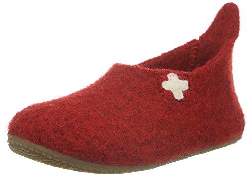 Living Kitzbühel Unisex-Kinder Slipper Schweizer Kreuz Hohe Hausschuhe, Rot (Rot 350), 35