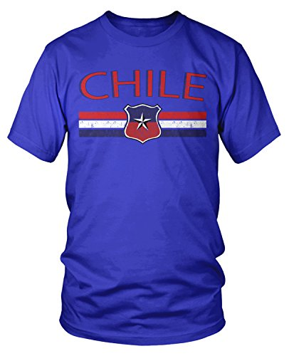 Amdesco Men's Chile Flag and Country Crest, Chilean Pride T-Shirt