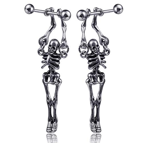 XIAOSHA 2PCS Punk Rock Stainless Steel Skull Skeleton Drop Earrings Fashion Jewelry,A charming gift for you or your loved ones