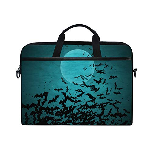 EZIOLY Halloween Moon And Bats Laptop Shoulder Messenger Bag Case Sleeve for 13 Inch to 14 inch Laptop