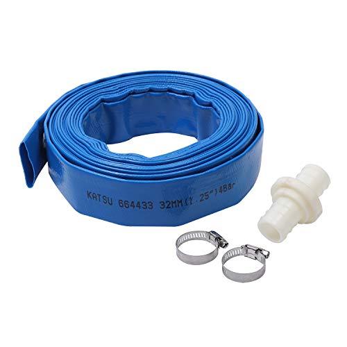 """Manguera de agua de descarga plana blanca (Azul 1.25""""10M)"""