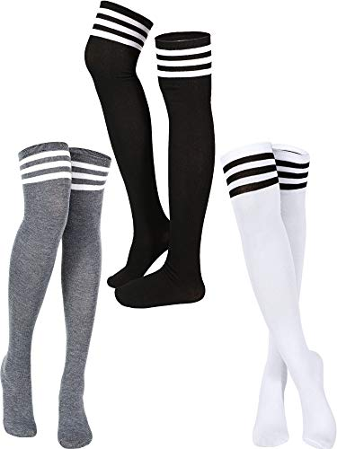 3 Pairs Triple Stripe Over the Knee Socks Extra Long Opaque Thigh High Stockings (Mixed Color)