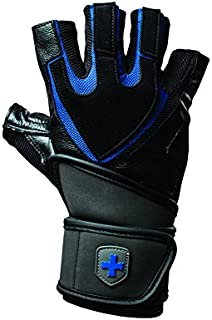 Harbinger Training Grip Wristwrap Weightlifting Gloves with TechGel-Padded Leather Palm (Pair), X-Large