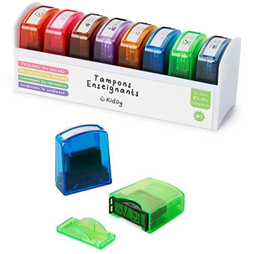Sellos para profesores en francés, caja completa de 8 sellos de tinta para niños, regalo para...