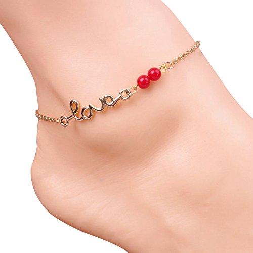 Aiuin caviglia bracciale donna bella signora Love energia perline cavigliera catena caviglia braccialetto a piedi nudi sandalo spiaggia piede gioielli anello da piede