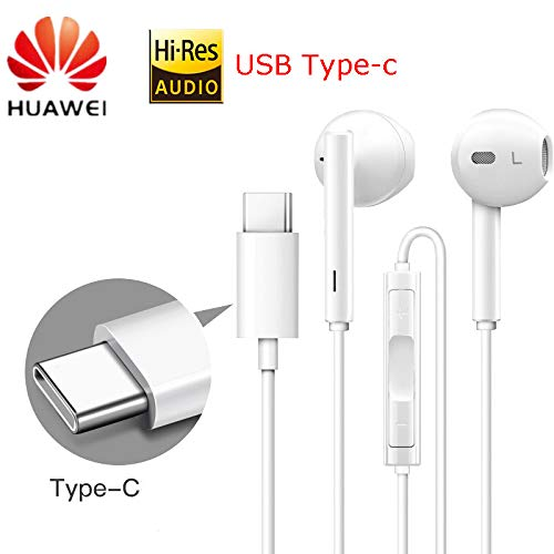 HUAWEI USB C Earphone,Type C Headphones with Microphone,Hi-Res Audio,in-Ear Noise Cancelling Earphones Compatible with HUAWEI Mate 10Pro 20 X RS P20 30 Note 10 Most Type-C Jack Headset