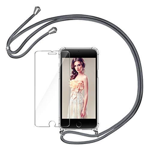 AROYI Handykette Handyhülle & Panzerglas Schutzfolie kompatibel mit iPhone SE 2020 mit iPhone 7 mit iPhone 8 Hülle mit Kordel Umhängen Necklace Band Transparent Grau