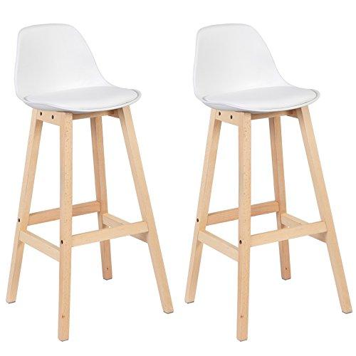 WOLTU® BH44ws-2 2 x Barhocker 2er Set Barstuhl aus Kunststoff Holz mit Lehne Design Stuhl Küchenstuhl Weiss