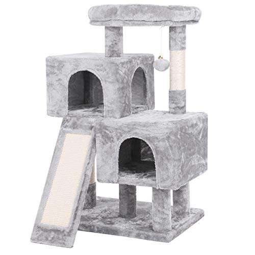 BEWISHOME Cat Tree Condo with Sisal Scratching Posts Scratching Board Plush Perch and Dual Houses Cat Tower Furniture Kitty Activity Center Kitten Play House Light Grey MMJ10G