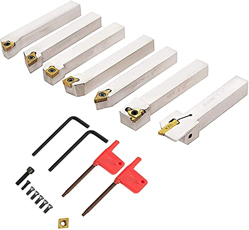 Indexable Carbide Insert Tools 1/4' Industrial Lathe Tools 7Pcs/Set Mini Turning Tool Set Super-Hard 40cr Mental Lathe Tools Inserts Carbide Tool Holder for Lathe Galvanized with Portable Case Tool