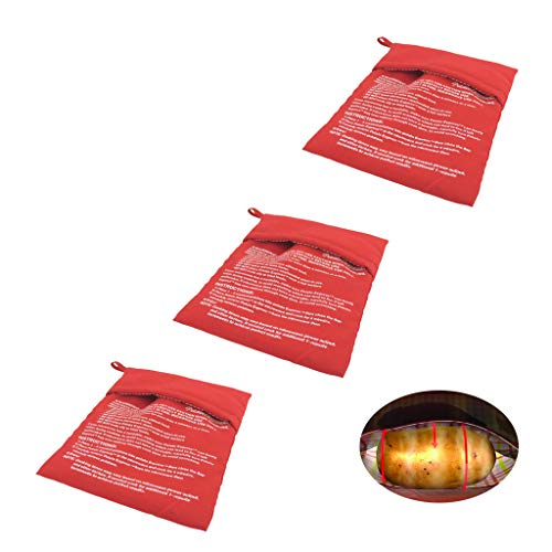 Amycute Microwave Potato Bag, Reusable Washable Baking Bag, Quick Potato Bake 3 pcs(8.3 X 10.2 Inches)