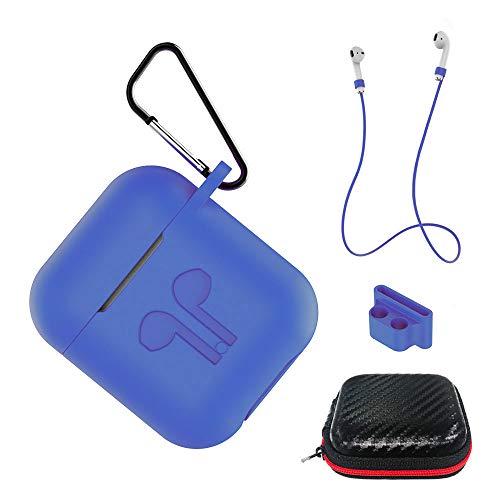 AICEK Funda Compatible para AirPods Silicona Carcasa para Apple AirPods 1 & 2 Protective Case Cover Accesorios con Cuerda Anti-pérdida,Mosquetón,Estuche, Azul