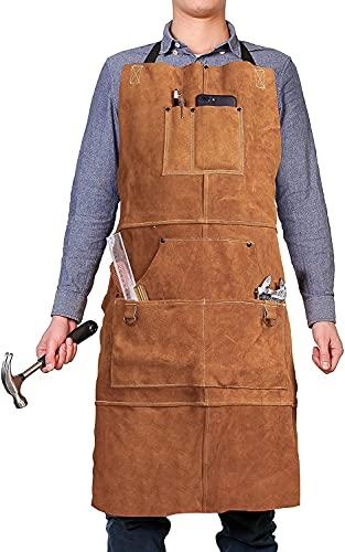 QeeLink Schweißschürze Leder, Holzbearbeitung Schürze mit 6 Werkzeugtaschen, Strapazierfähige Schweißerschürze für Männer Frauen, Hitzebeständiges Flammhemmendes Verstellbares Werkstattzubehör