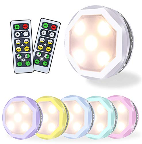 Puck Lights with Remote Control, Led Under Cabinet Lighting, Under Counter Light, Battery Operated Puck Light, Tap Lights, Stick on Lights for Closet(Warm White)