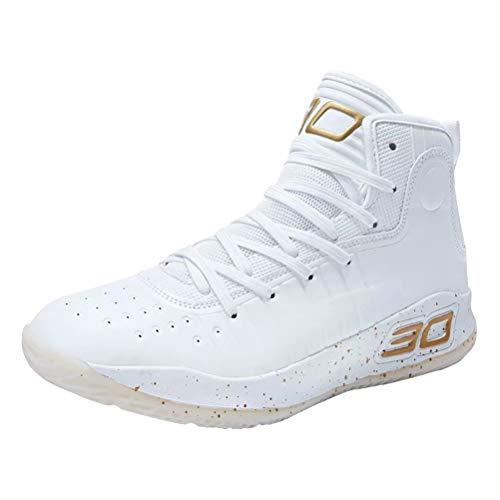 Scarpe da Basket Uomo Donna Anti Scivolo Outdoor Traspirante Sneakers Casual Scarpe da Ginnastica Bianco d'oro 41