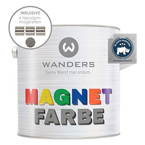 Wanders24® Magnetfarbe (2,5 Liter, Dunkelgrau) haftstarke Magnetfarbe grau - Magnet Wandfarbe wasserbasiert - Magnetische Farbe - Magnet Tafel - Made in Germany