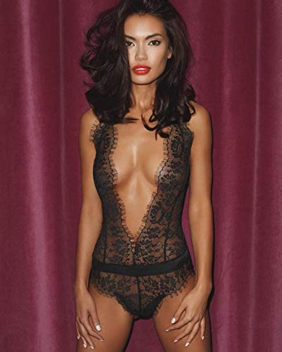 Bodysuits voor damesErotische nachthemden voor dames Erotische knuffels en bodysuits voor dames Kanten diepe V-jumpsuit sex lingerie zwart_XXL