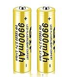 18650 Batería recargable de iones de litio de 3,7 V 9900 mAh, gran capacidad, universal, segura, práctica para linterna LED, iluminación de emergencia, dispositivos electrónicos, etc. (amarillo)