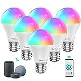 Onforu 6er Alexa Lampen, E27 WiFi Glühbirne bunt, Farbig Smart LED Birne Dimmbar mit Musik Synchronisation, WLAN Light Bulb 7W ohne Hub, RGB Farbwechselbirne Kompatibel mit Echo, Google Assistant