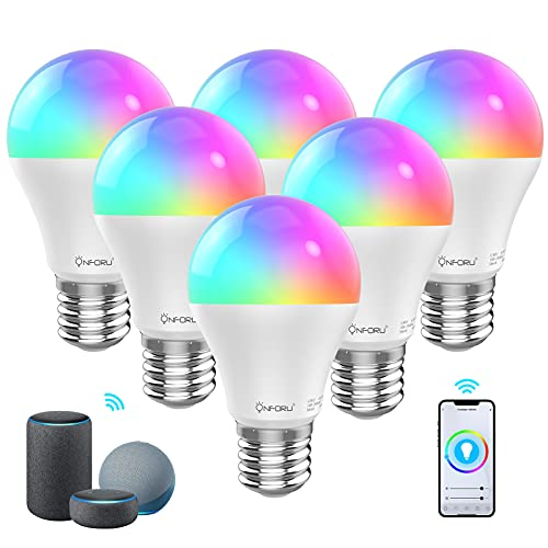 Onforu 6 Pack 7W Alexa Bombilla LED Inteligente, Wifi Bombilla RGBW E27, Bombillas RGB Compatibles con Echo, Google Home, Alexa, Smart Bulb con Luces Blanca Cálida y Blanca Fría para Fiesta Domitorio