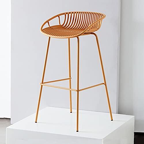 GDHY Sgabello da Bar in Metallo Sgabelli Alto Stile Nordico Sedia da Cucina per Colazione Moderno Sgabello da Pranzo Cavo (Nero/Marrone, Altezza 72 Cm)