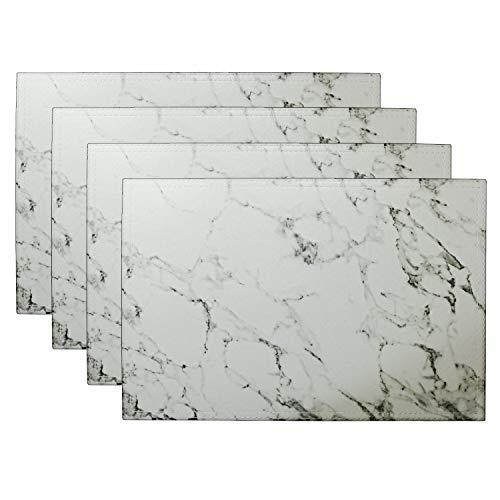 simpletome Manteles Individuales Marmol Cuero Esteras de Tabla Doble Capa Limpieza Fácil de Limpiar 4 paquetes (Blanco)