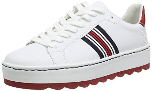 Rieker Damen Frühjahr/Sommer N4622 Sneaker, Weiß (Weiss/Flamme/ 81 81), 38 EU