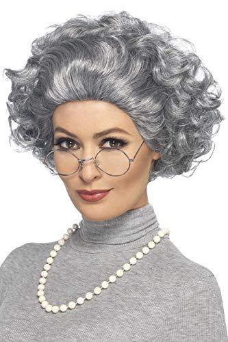 SMIFFYS Kit Nonna, grigio, con parrucca, occhiali e collana di perle Adulti, Taglia Unica, 44632